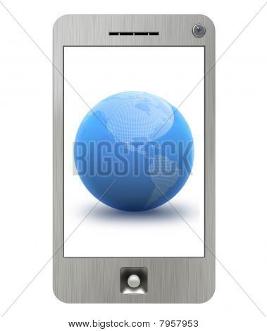 PDA phone with isolated display and blue globe