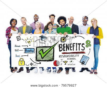 Benefits Gain Profit Income Earning People Banner Concept