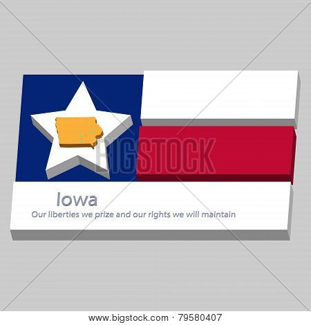 The Outline Of The State Of Iowa Is Depicted On The Background Of The Stars Of The Flag Of The Unite