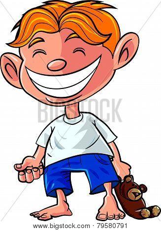 Cartoon little boy with a teddy bear