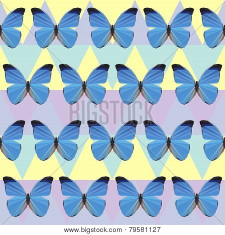 Polygonal Blue Butterfly Pattern Background