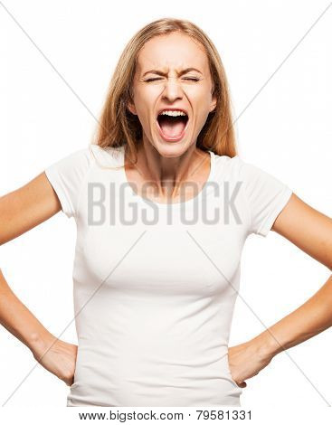Screaming woman isolated on white bacjground. Emotional stress, problems, frustration, hysterical, desperation