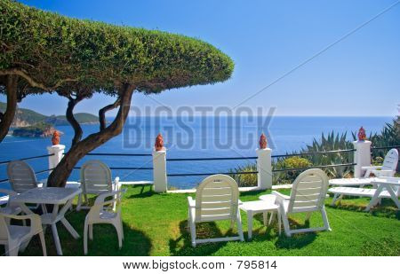 View of the sea from a room on Corfu island