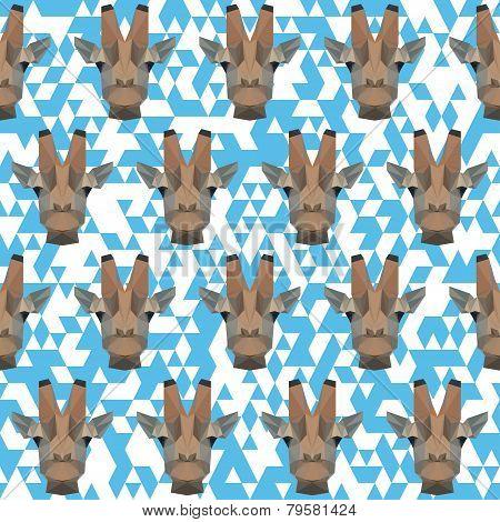 Polygonal Geometric Triangle Abstract Giraffe Seamless Pattern