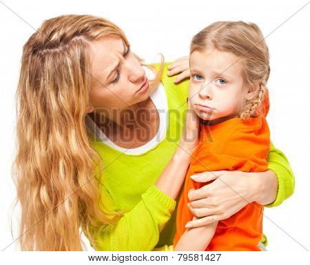 Mother comforting daughter. Female and child isolated on white. Sad daughter