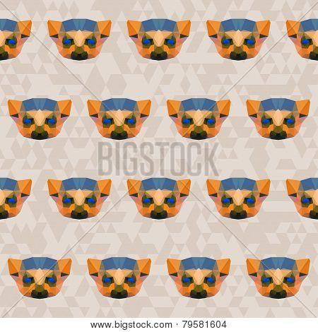 Bright Colored Abstract Geometric Polygonal Lemurseamless Pattern