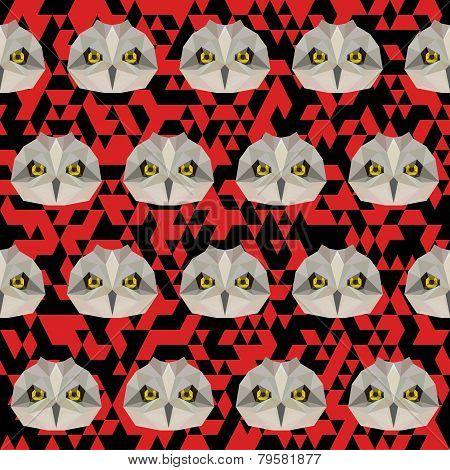 Polygonal Geometric Triangle Abstract Owl Seamless Pattern