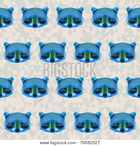 Abstract Geometric Polygonal Raccoon Seamless Pattern
