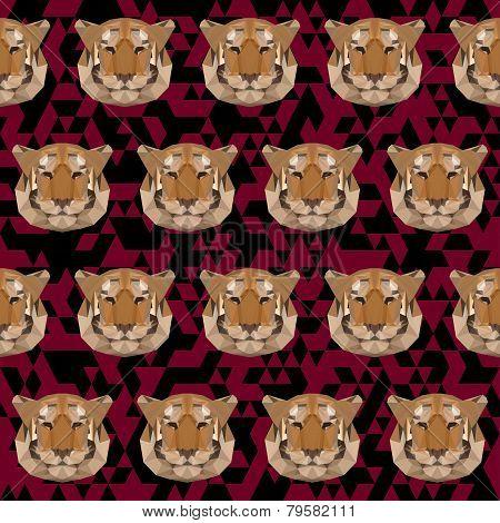 Abstract Geometric Polygonal Tiger Seamless Pattern