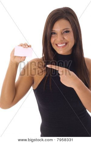 beautiful woman pointing to business card