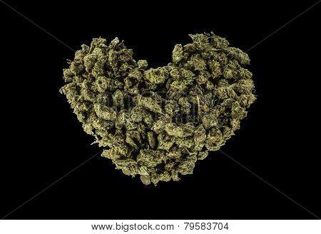 Green Heart Made Of Marijuana