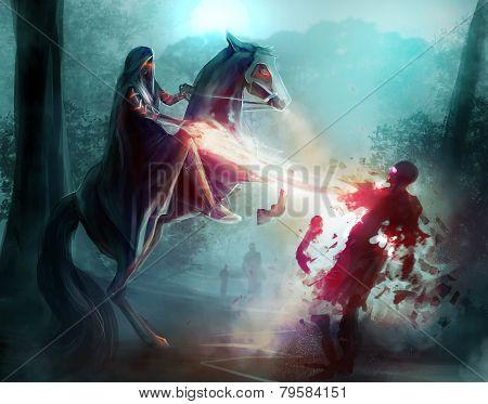 Fantasy horseman sorcery.