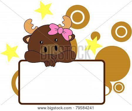 sweet girl reindeer cartoon singboard