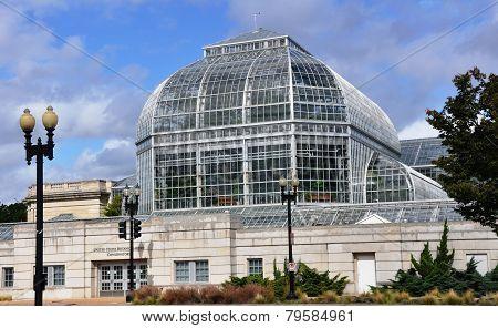 Conservatory of a botanical garden.