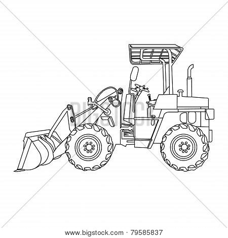 Wheeled Tractor Vector.