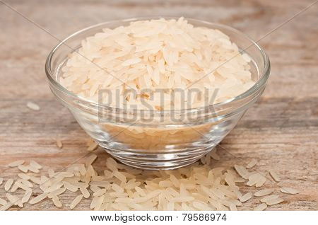 Rice Cereal In A Glass Plate On Wooden Table