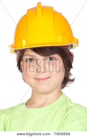 Beautiful Child With Yellow Helmet