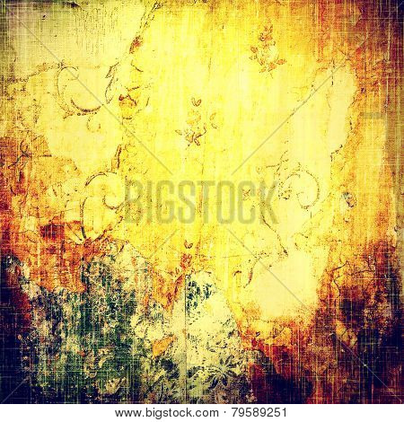 Grunge retro texture, elegant old-style background. With different color patterns: purple (violet); green; brown; yellow (beige)