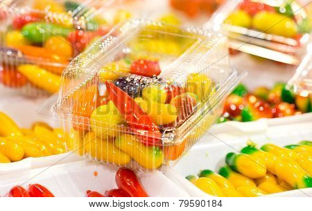 Deletable Imitation Fruits-traditional Thai Dessert Made From Nut And Jelly In Transparent Plastic C