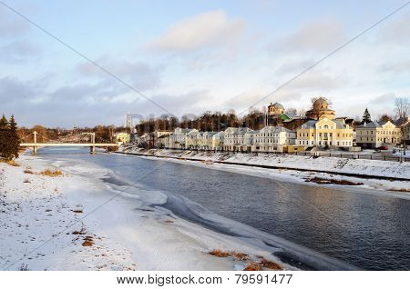 Frozen River Tvertsa In Ancient Russian Town Torzhok