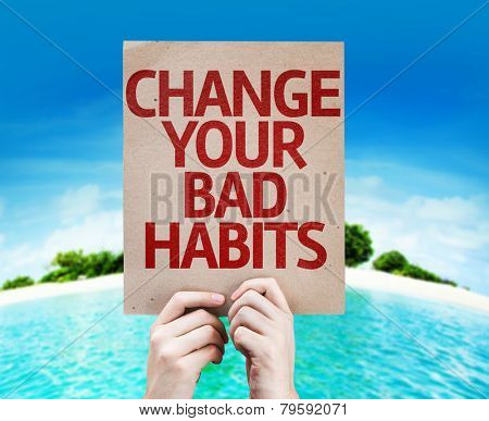 Change Your Bad Habits card with a beach on background