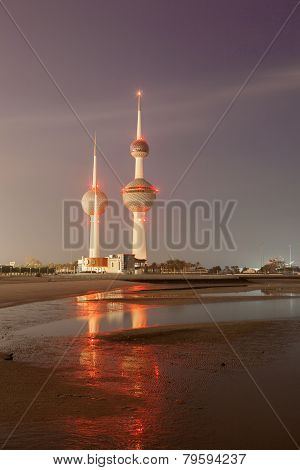 The Kuwait Towers at night