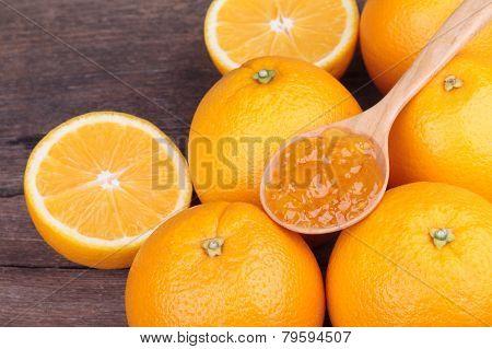 fresh orange with orange jam