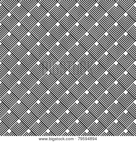 Black And White Geometric Seamless Pattern With Line.