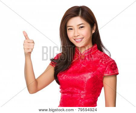Chinese woman with thumb up