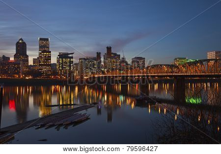 Portland Oregon In A Blue Hour Lights.