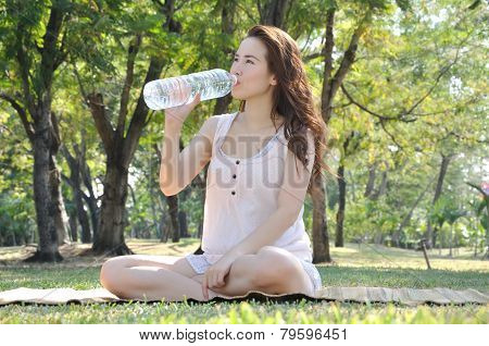 Girl Is  Drinking Water