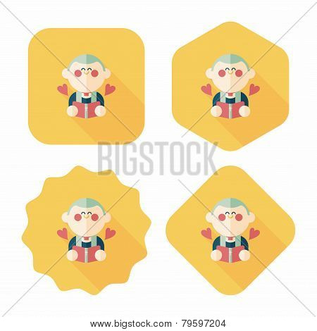Wedding Priest Flat Icon With Long Shadow,eps10, Presiding Over A Wedding Ceremony.