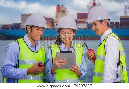 The Engineer Working With Container Cargo Freight Ship