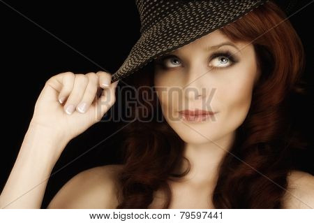 Beautiful Image Of a Fashion Model with Hat On Black