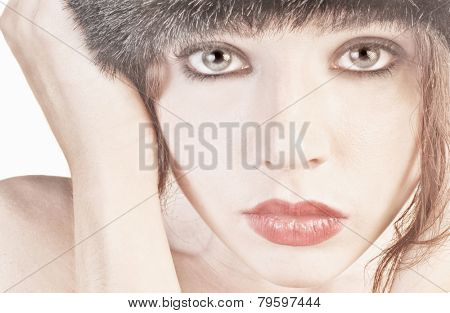 Very pretty Woman Isolated on white with hat