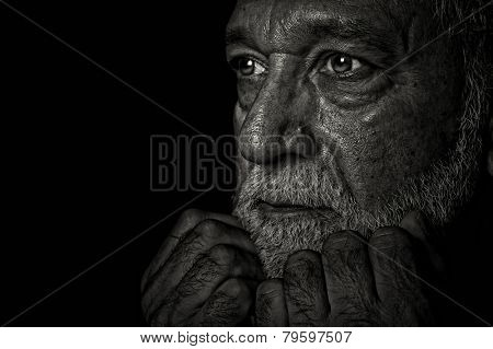 Nice portrait Image of a retired Latino reflecting on His Life
