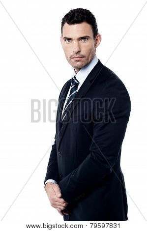 Businessman Posing In Clasped Hands