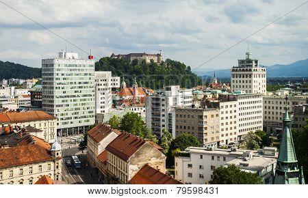 Panorama of Ljubljana with castle, Slovenia