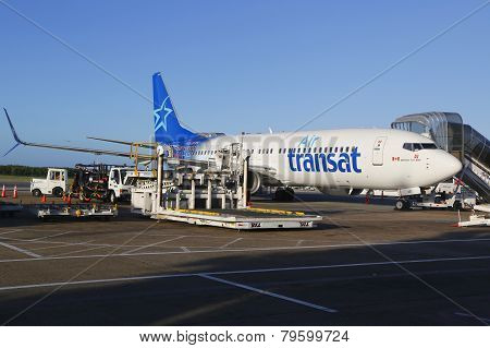 Air Transat airlines Boeing 737 at Punta Cana International Airport
