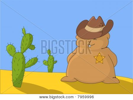 Sheriff-pillow With Two Cactuses