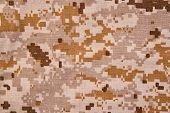 picture of camouflage  - Desert digital camouflage fabric texture background - JPG