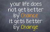 image of motivational  - Motivational saying that you need to make change to improve your life and not wait for chances - JPG