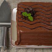 picture of chocolate fudge  - A chocolate fudge layer cake - JPG
