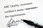 stock photo of lithographic  - Sign off the quality control document from a makeup institution - JPG
