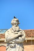 image of stature  - Nicolo Tommaseo monument in Campo Santo Stefano in Venice Italy - JPG
