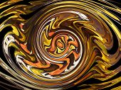 stock photo of tawdry  - modified picture of glossy yellow turning shapes - JPG