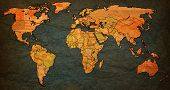 picture of flags world  - nepal flag on old vintage world map with national borders - JPG