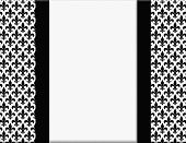 stock photo of fleur de lis  - Black and White Fleur De Lis Pattern Textured Fabric with Ribbon Background with center copy - JPG