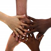 Multiracial hands together