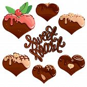 stock photo of heart valentines  - Set of Chocolate hearts in white and dark chocolate and strawberry glaze - JPG
